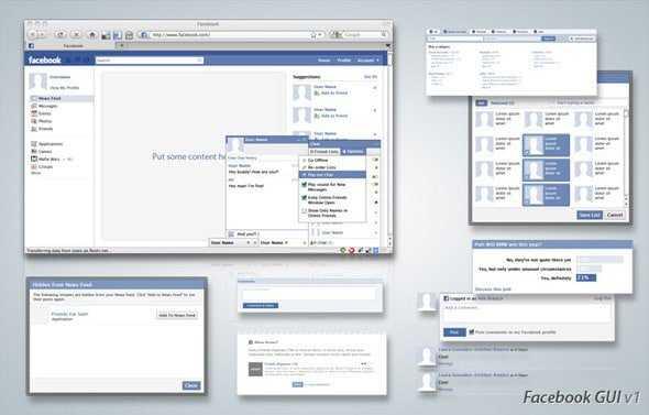Interfaz de Facebook en PSD