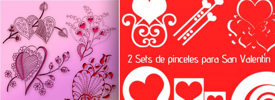 2 Sets de pinceles para San Valentín