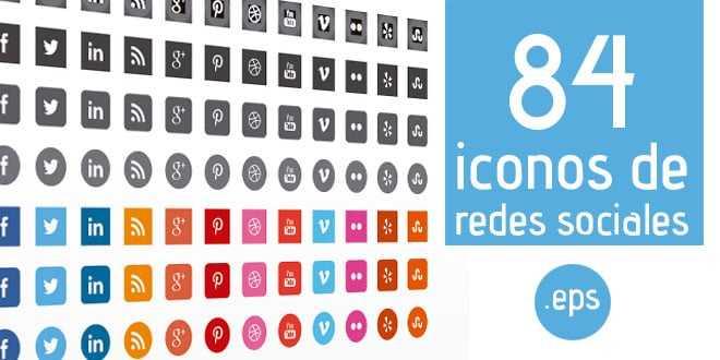 84 Iconos de redes sociales en .eps